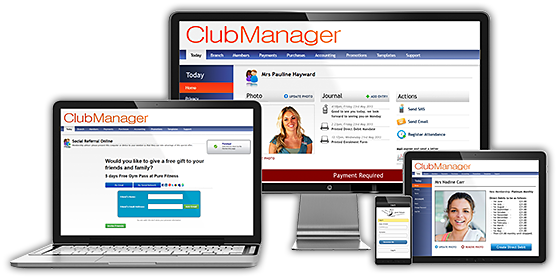 Screenshots of ClubManager being used to manage members